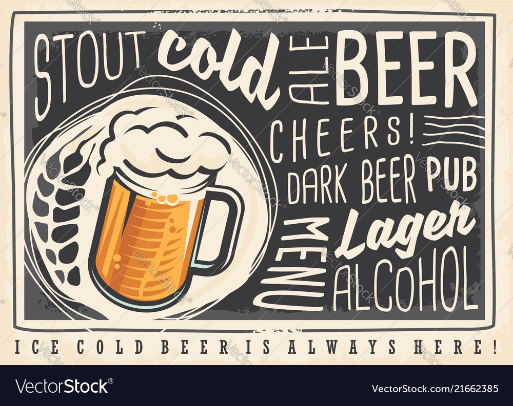 Beer poster menu with creative lettering and beer