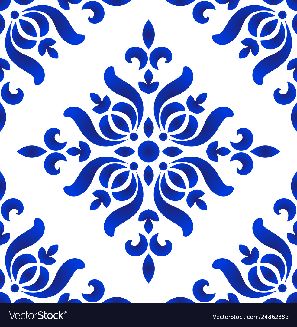 Blue And White Decorative Floral Pattern Vector Image