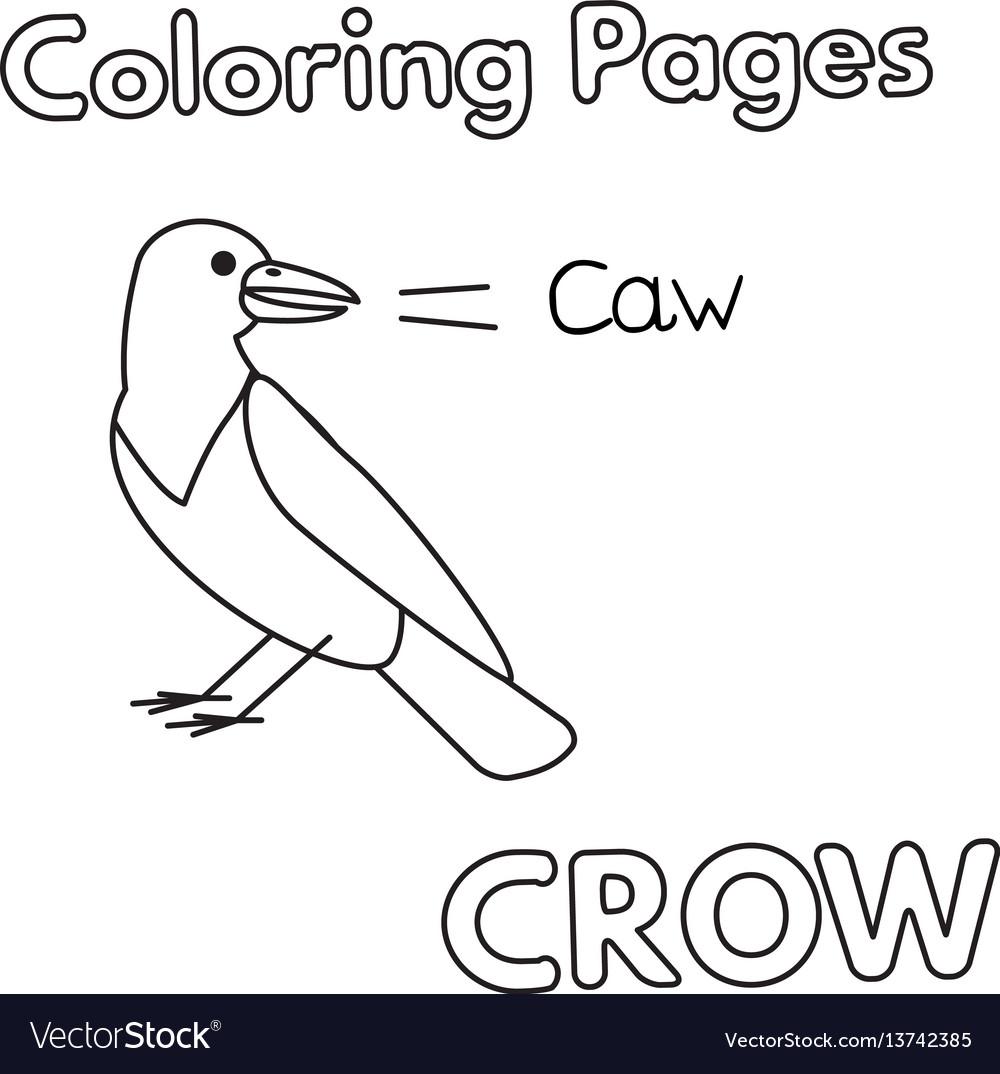 Cartoon Crow Coloring Book Royalty Free Vector Image