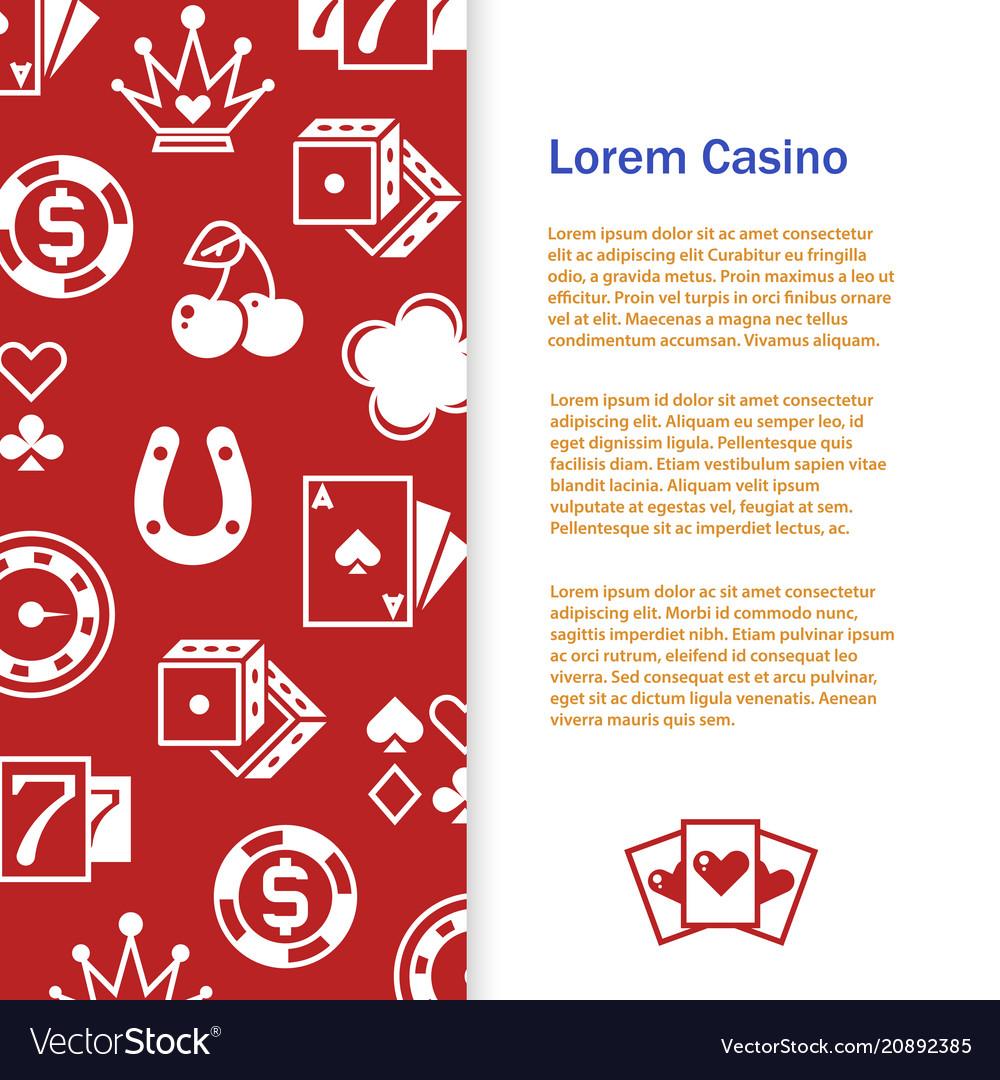 Casino poker banner template design vector image