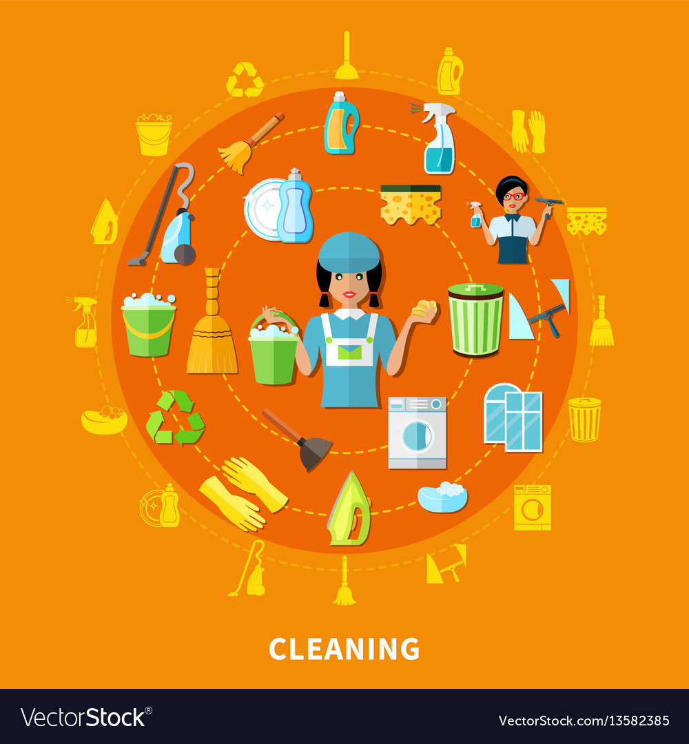 Cleaning tools round composition vector image