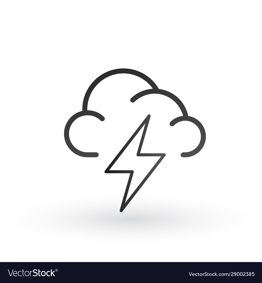 Cloud And Lightning Bolt Linear Icon For Website Vector Image