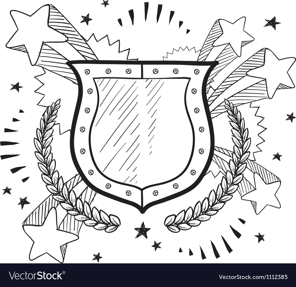 Doodle pop wreath shield