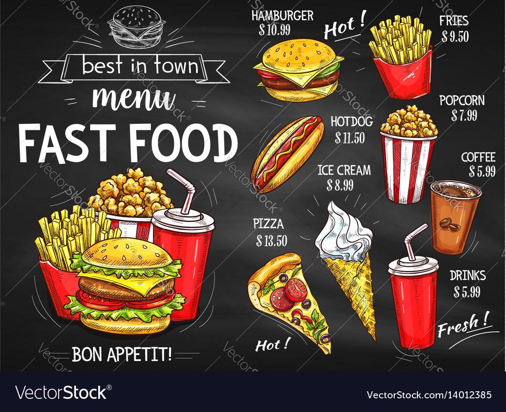Fast food restaurant menu chalkboard design vector image