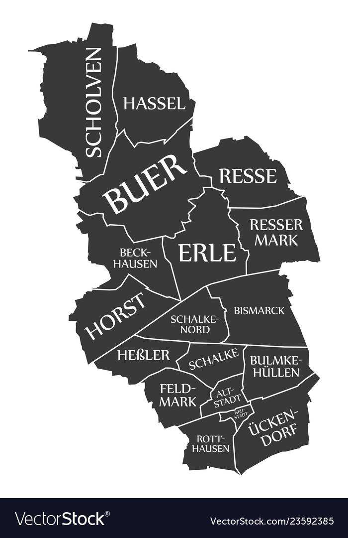 Map Of Germany Gelsenkirchen.Gelsenkirchen City Map Germany De Labelled Black