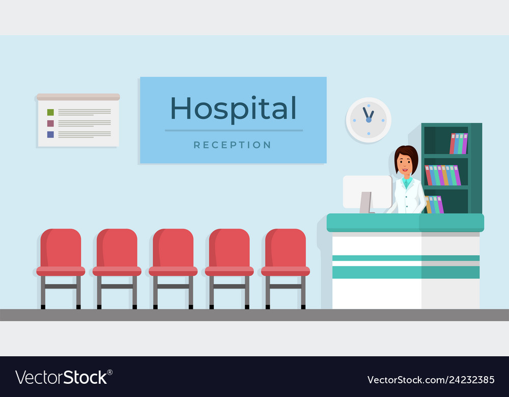 Hospital reception with woman