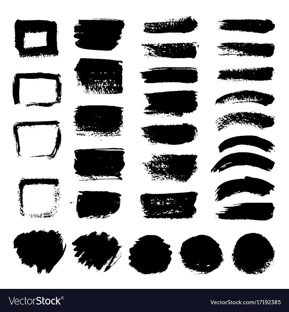 Ink black art brushes set dirty grunge vector image
