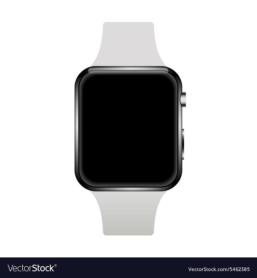 Modern realistic smart watch on white