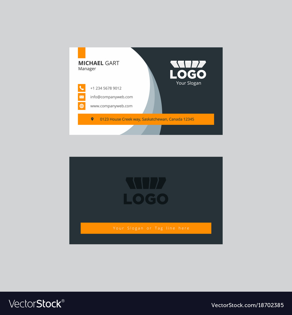 Neat grey and yellow professional business card vector image colourmoves