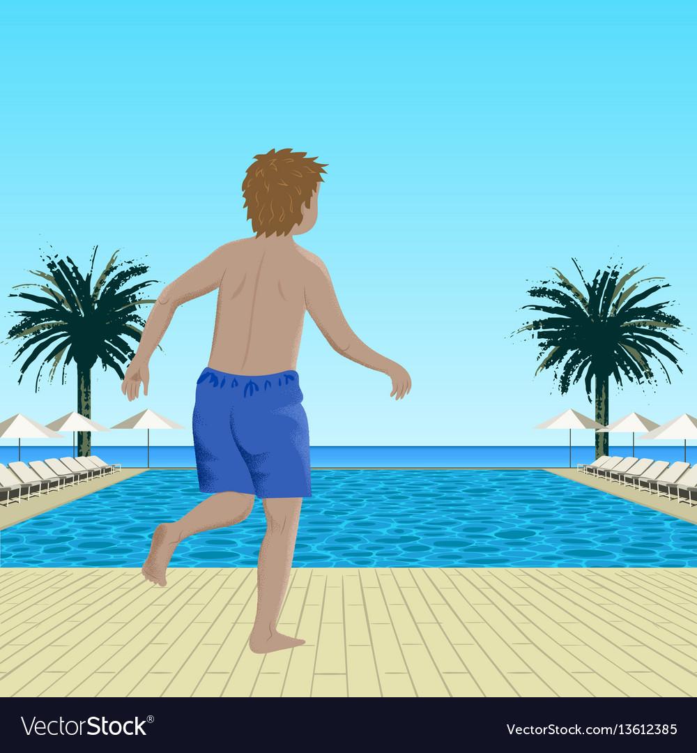 Running boy near swimming pool