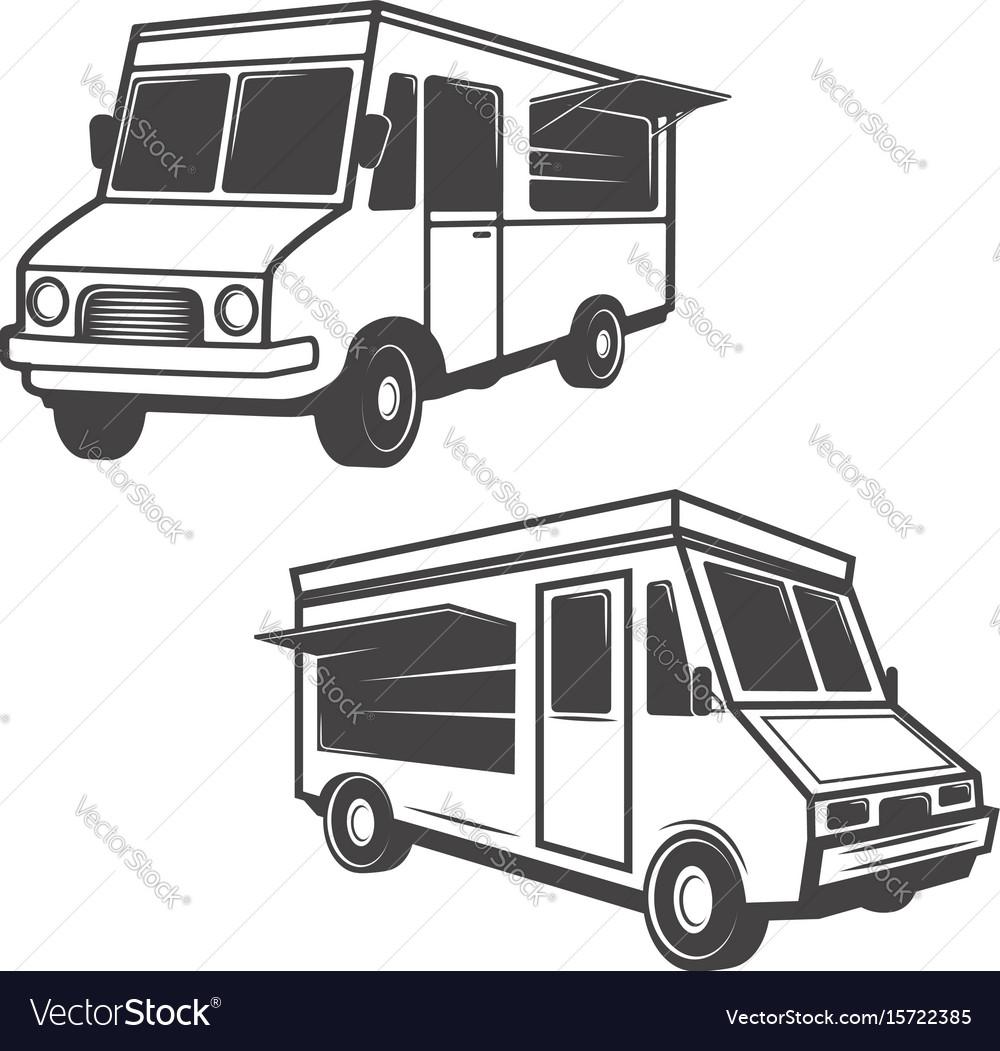 Set of food trucks isolated on white background