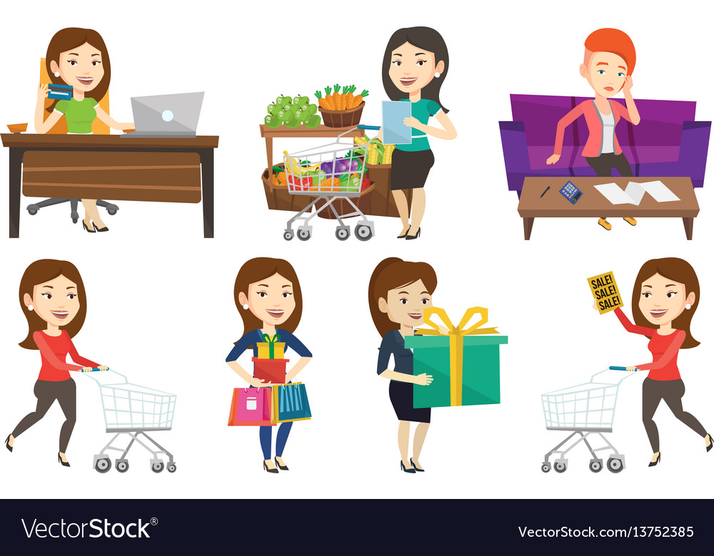 Set of shopping people characters