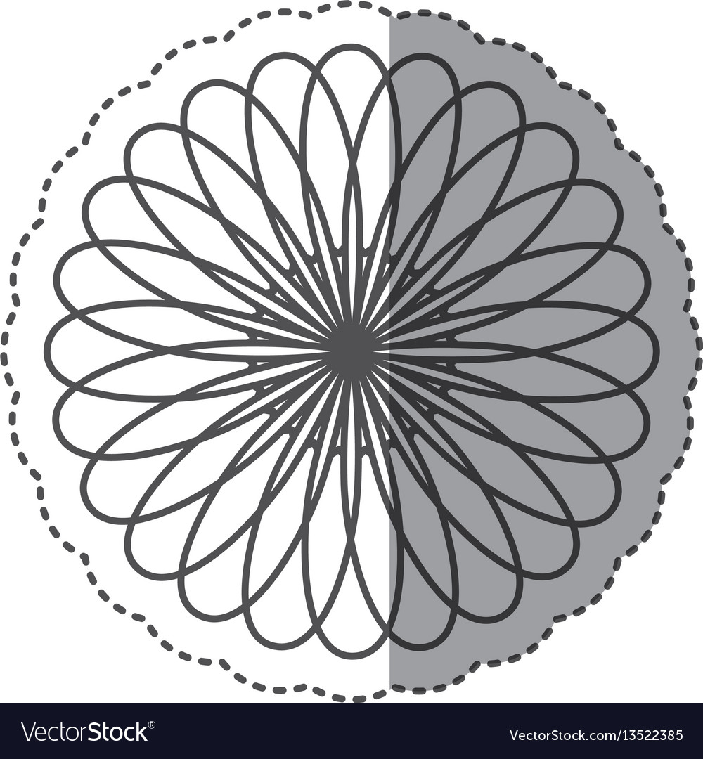Silhouette flower with petals icon vector image