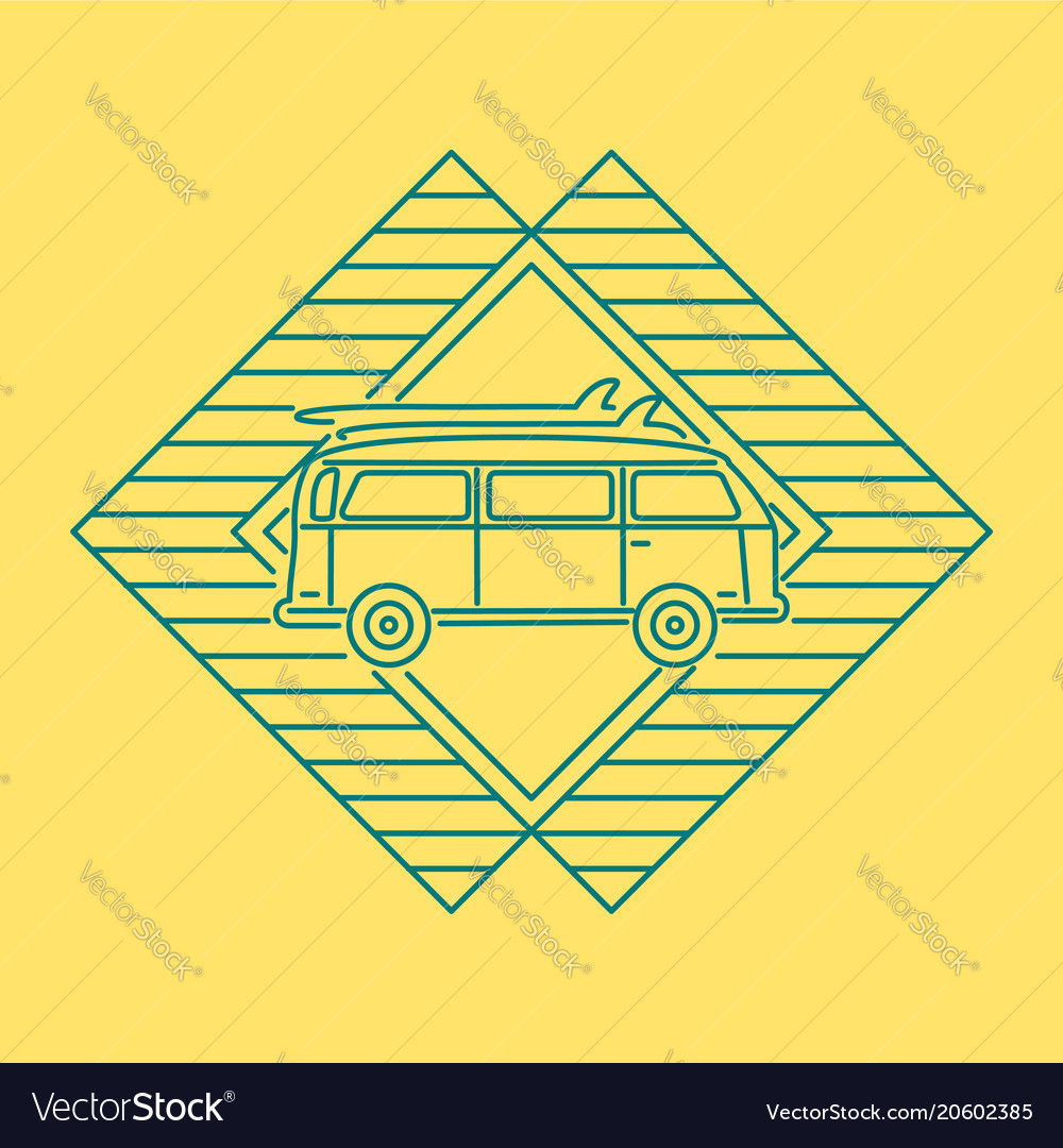 Summer travel concept line icon with car van