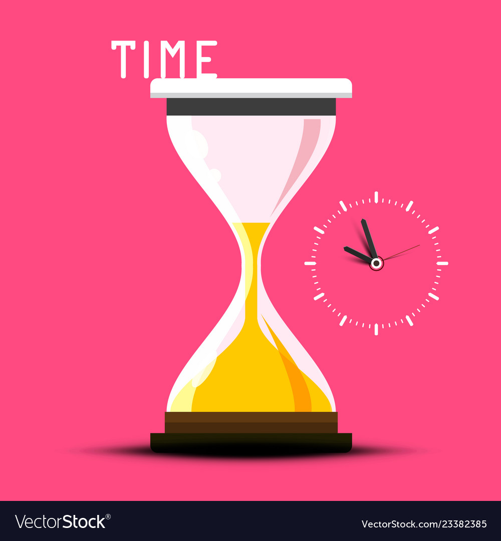 Time design with hourglass on pink background