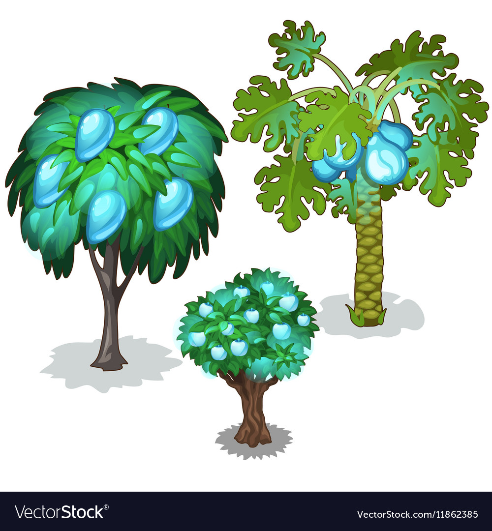 Trees with blue pears apples and pineapples