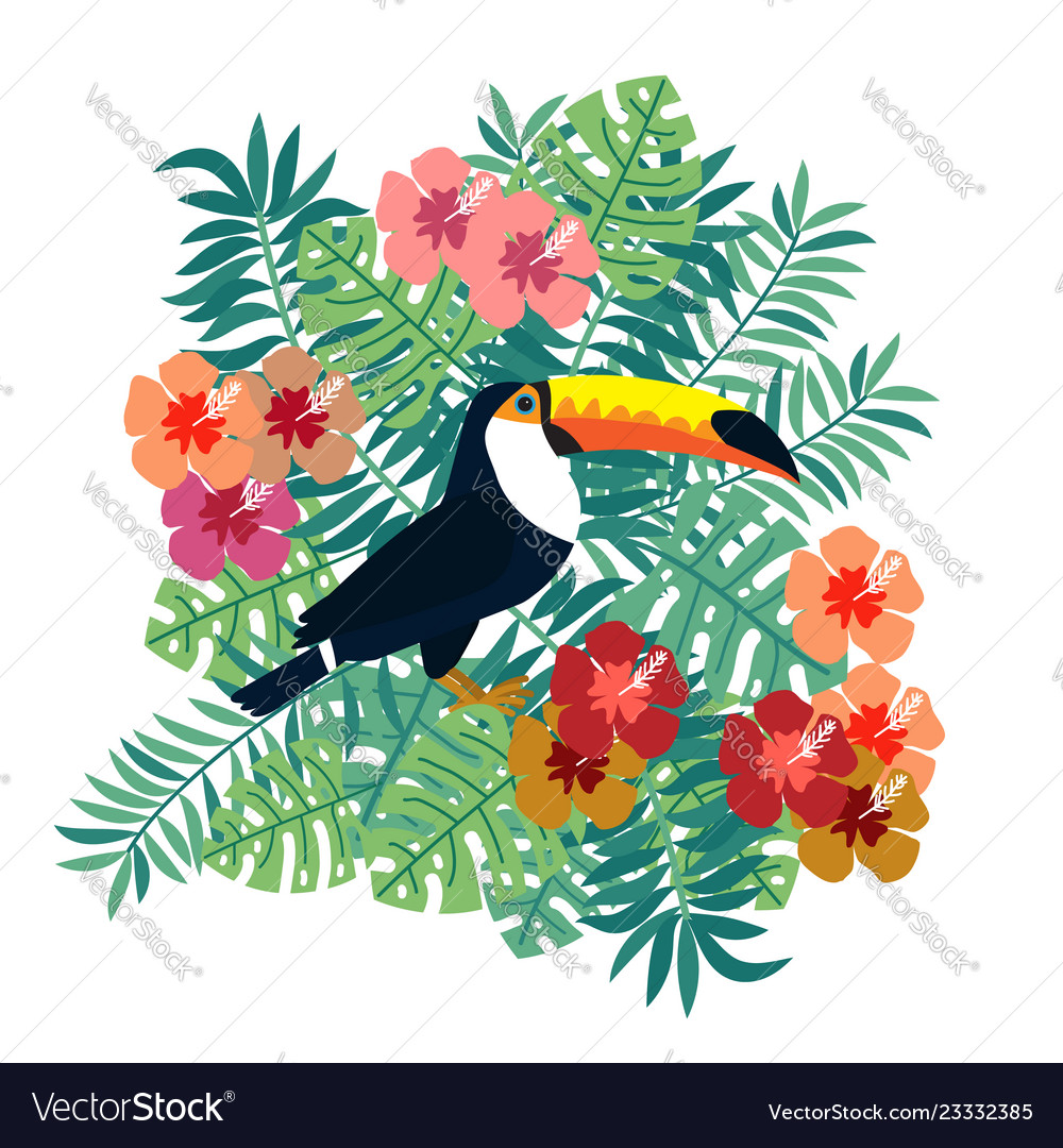 Tropical bird toucan on floral background