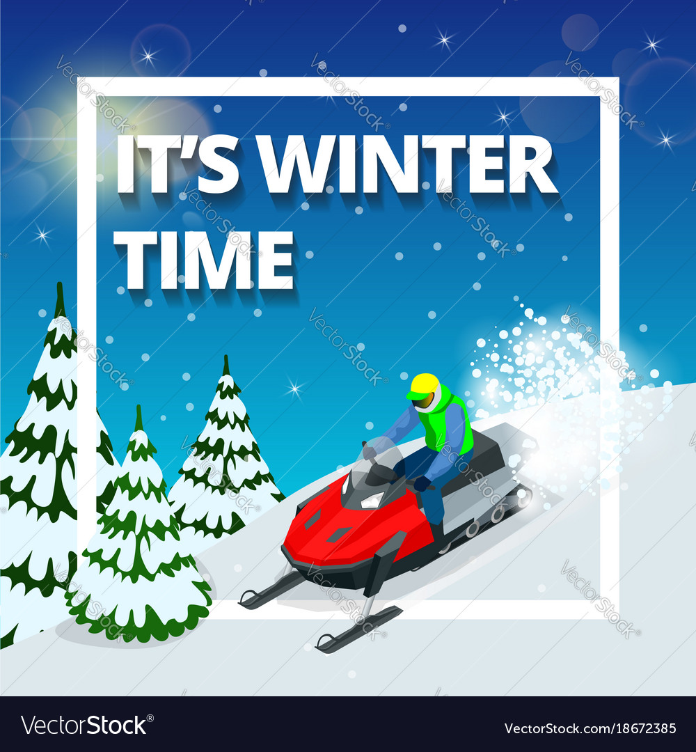 Winter background with man on snowmobile its