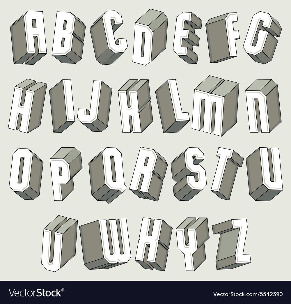 3d font geometric dimensional letters set