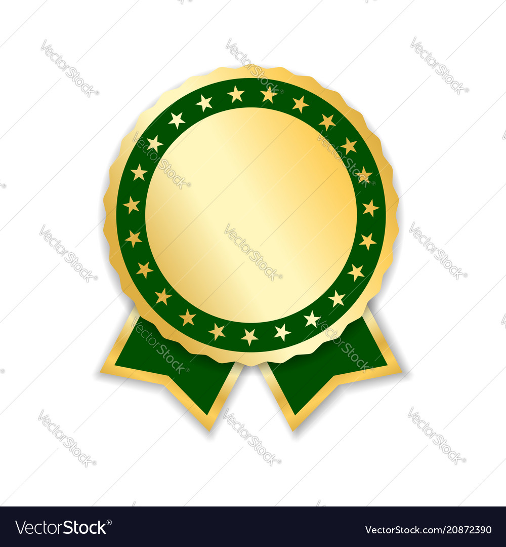 Award ribbon isolated gold green design medal