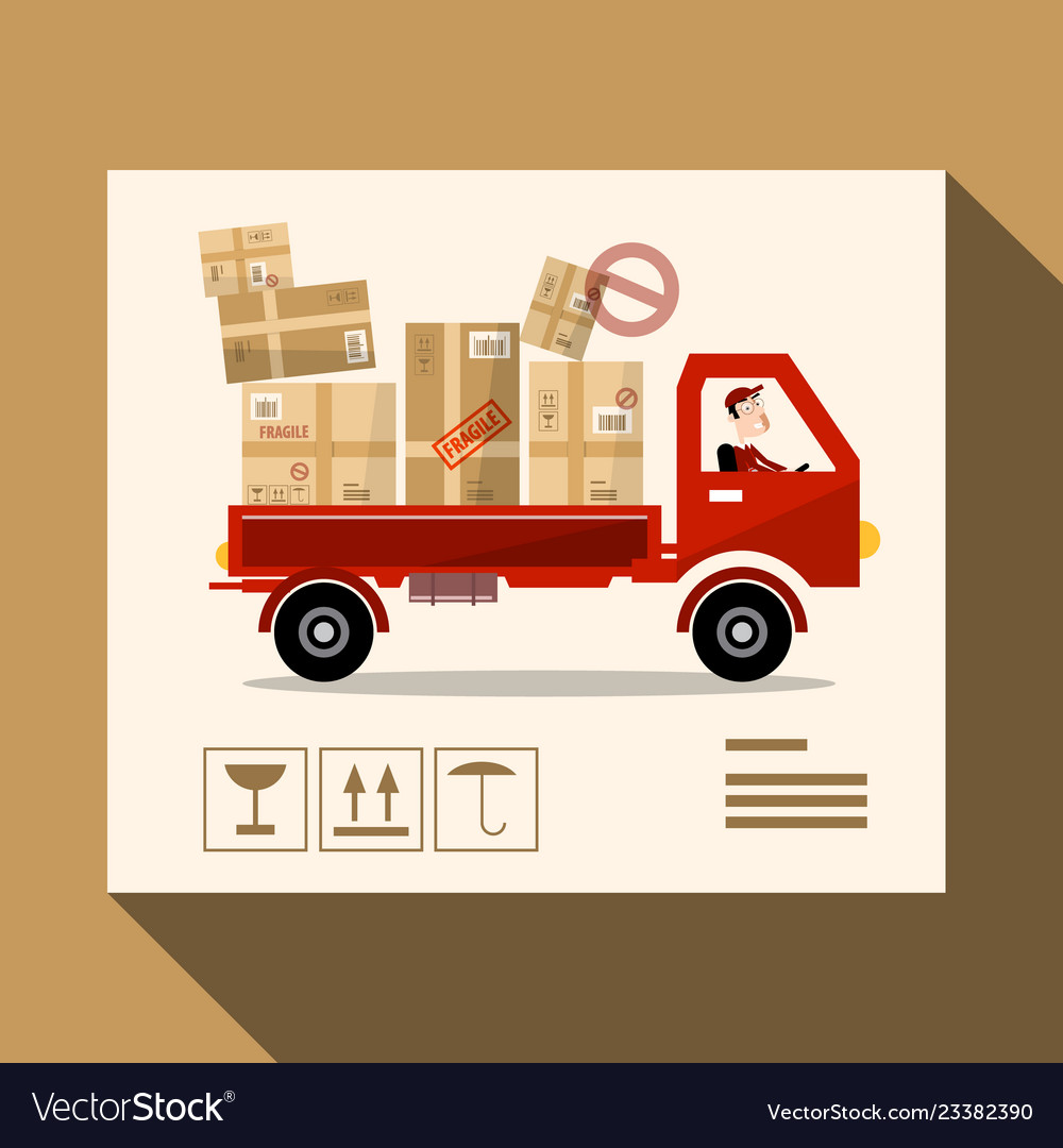 Delivery service concept truck design with parcels