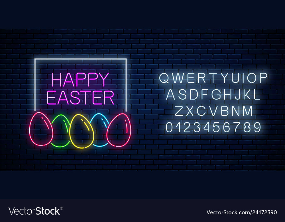 Happy easter glowing signboard with eggs and