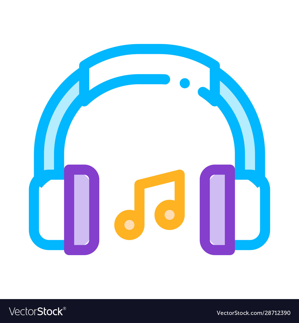 Music headphones and musical notes icon