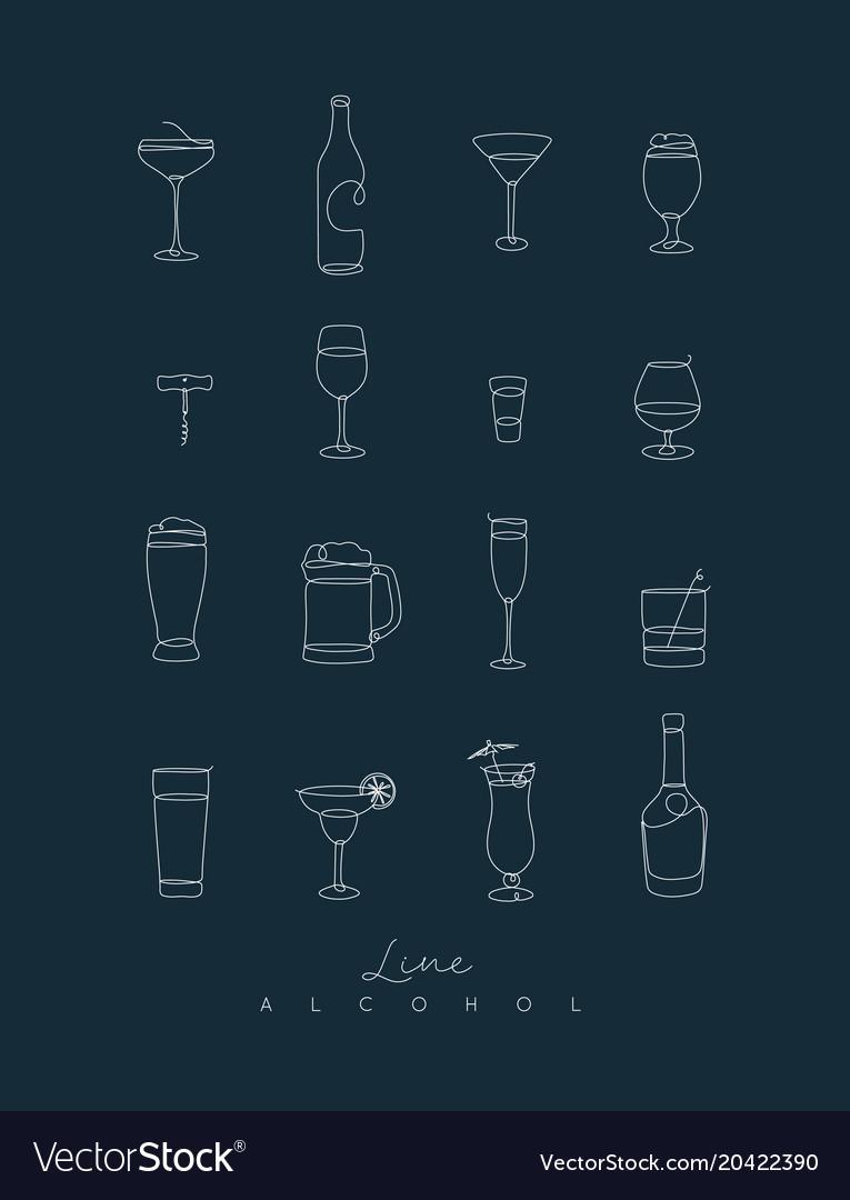 Pen line alcohol icons dark blue
