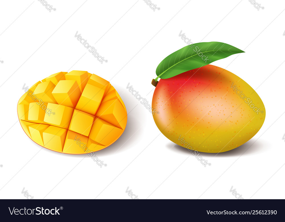Realistic ripe mango fruit whole with leaf and