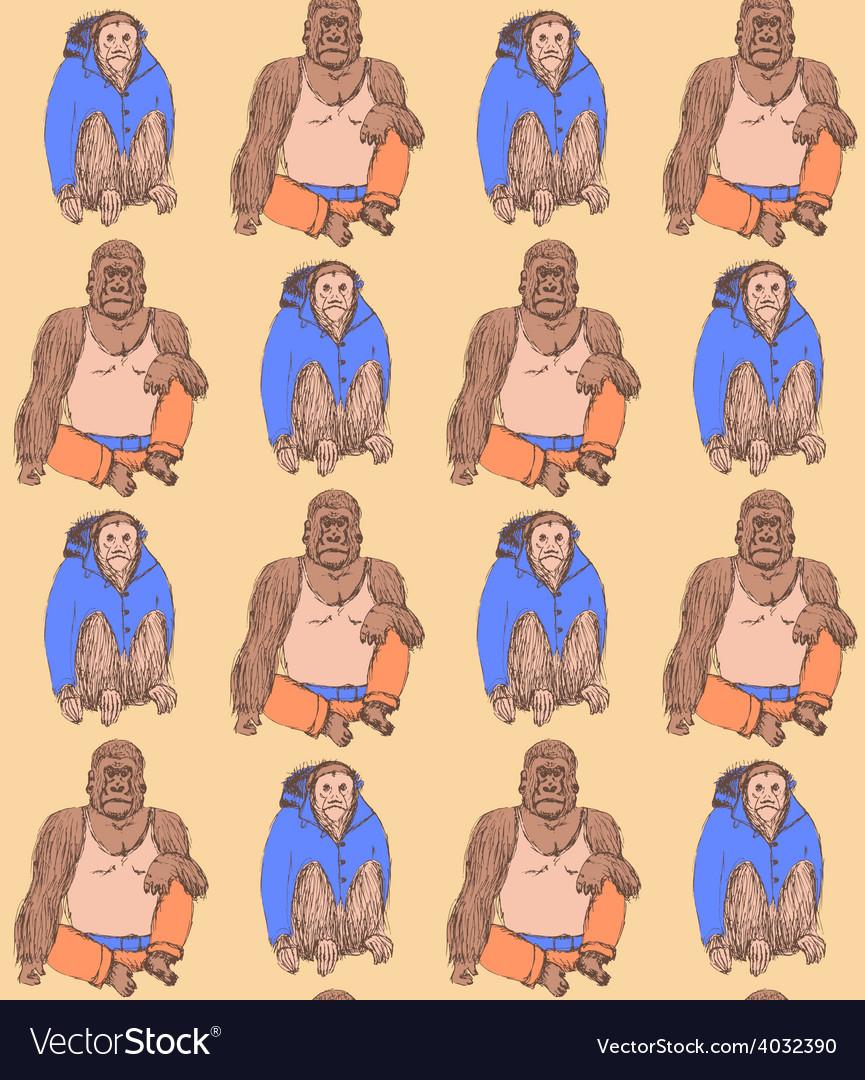 Sketch fancy monkeys in vintage style vector image