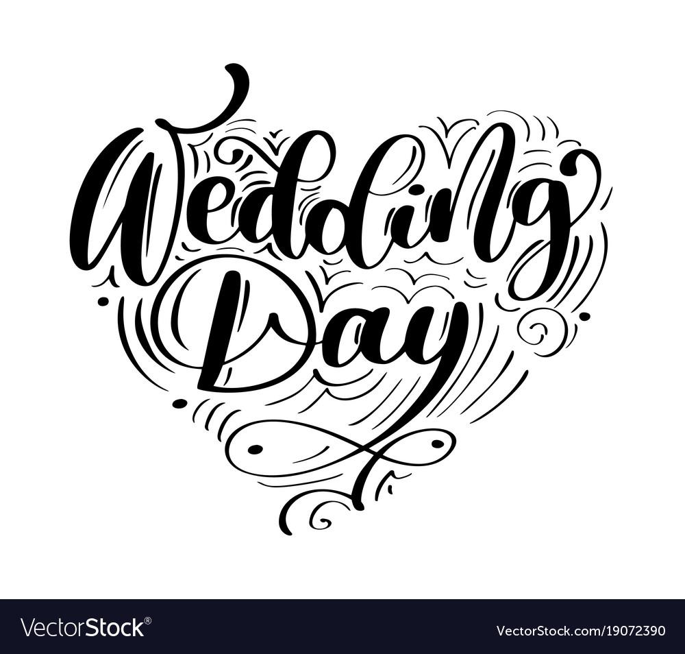 Wedding White Background: Wedding Day Text On White Background Royalty Free Vector