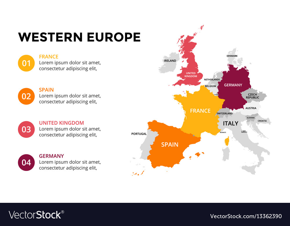 Western europe map infographic slide presentation Vector Image