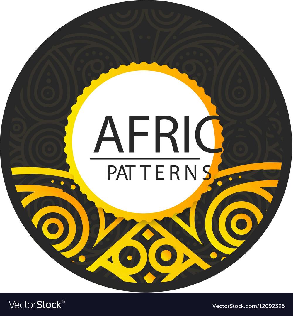 African Golden pattern on black background