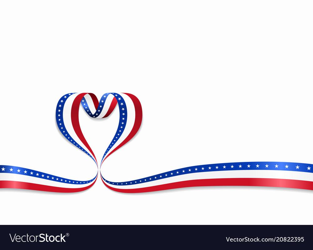 American flag heart-shaped ribbon