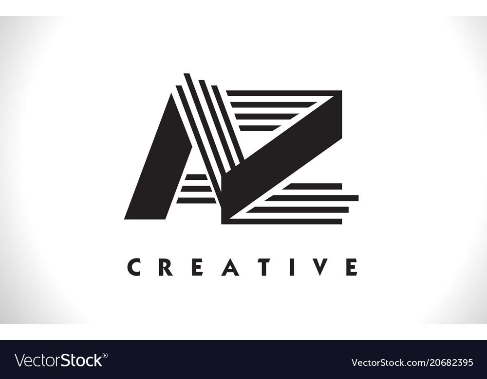 az logo letter with black lines design line letter