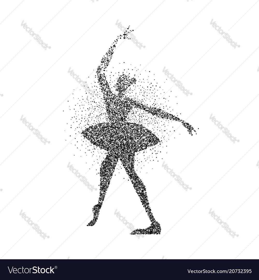 d708950b0e17 Ballerina girl silhouette made of black particles Vector Image