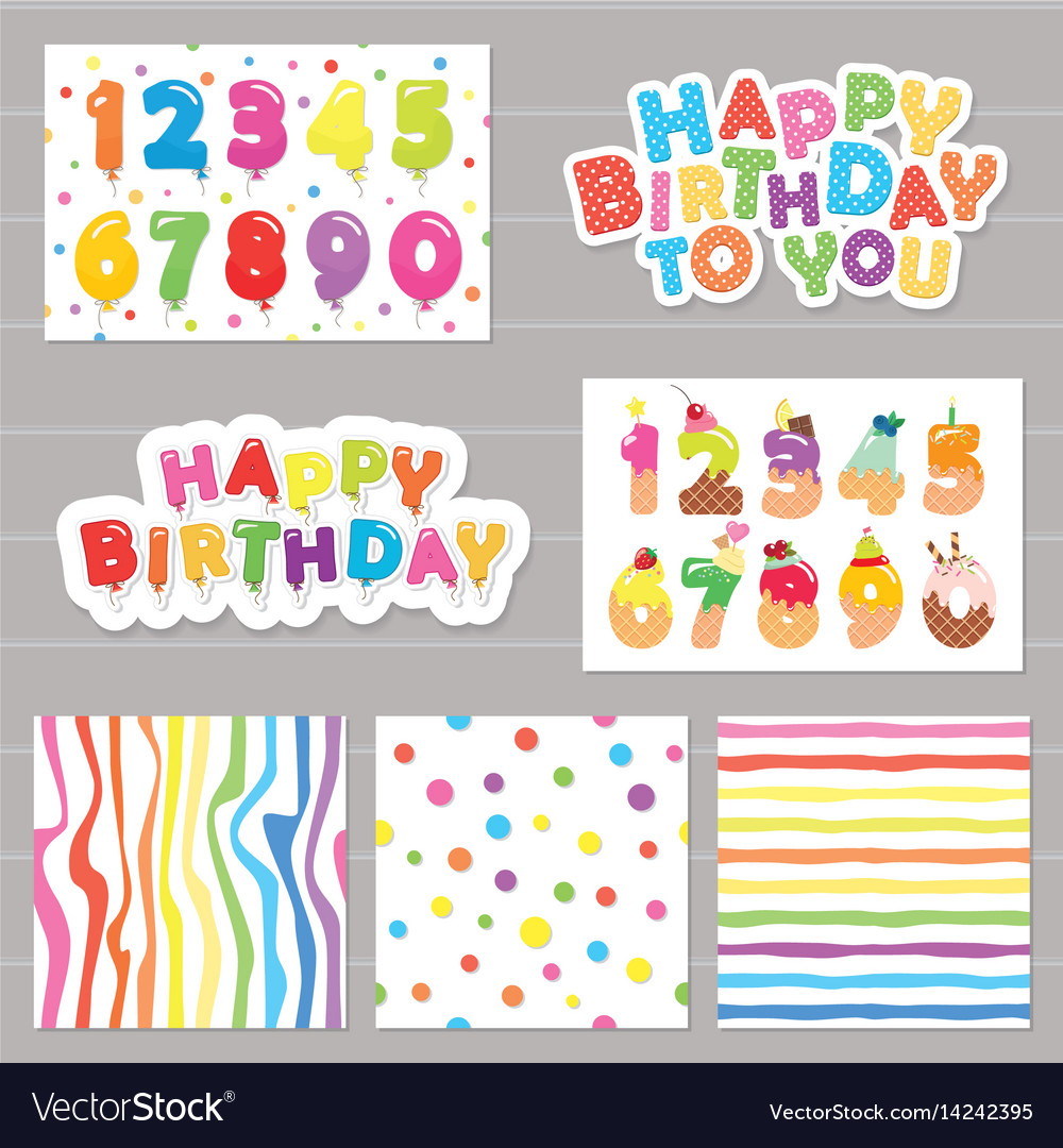 Birthday celebration set numbers and patterns