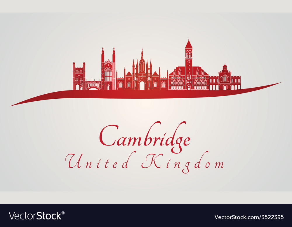 Cambridge skyline in red vector image