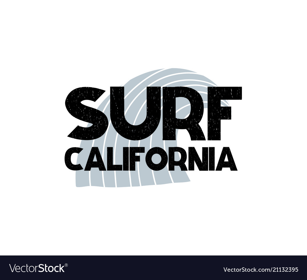 Card with lettering surf california and wave in