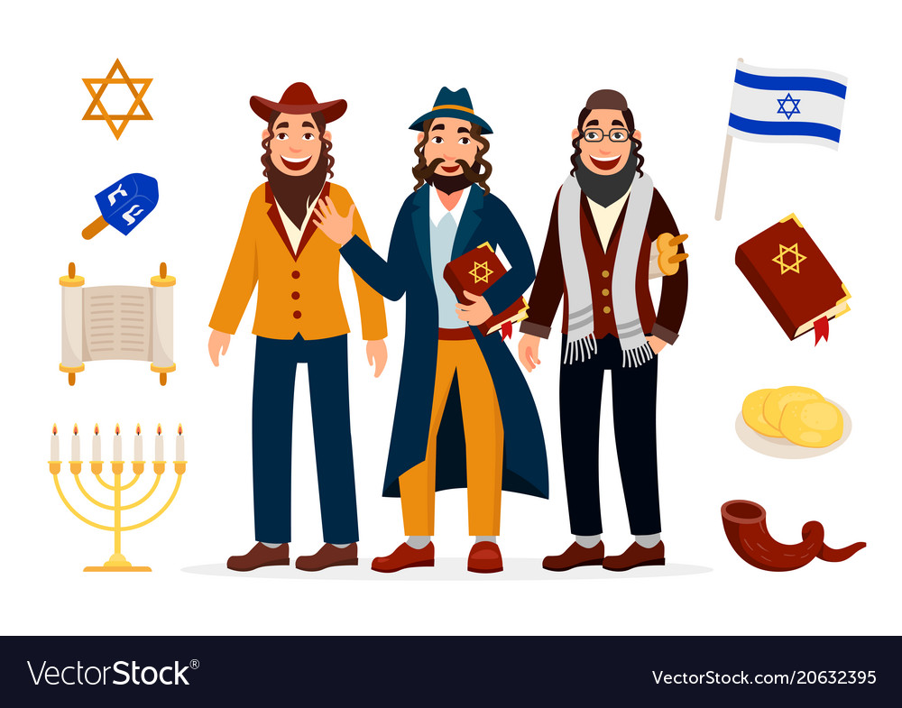 Cartoon jews characters icons collection isolated Vector Image