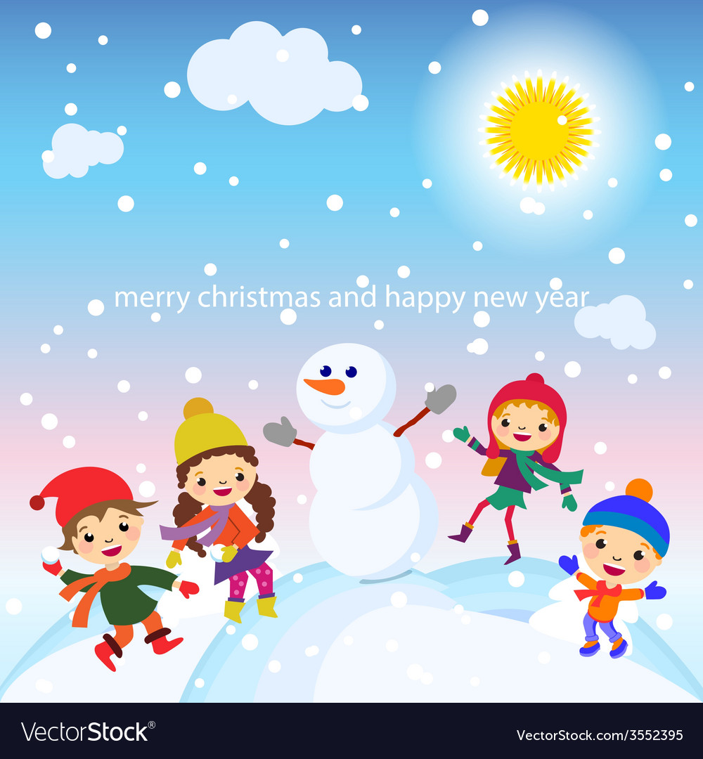 Christmas Greeting Card Kids Snow And Snowman Vector Image