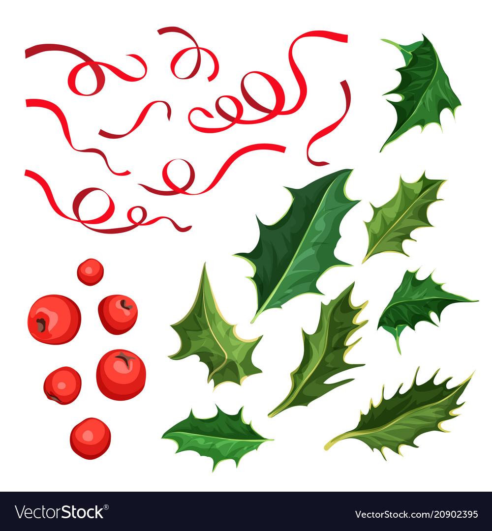 Christmas holly leaves berries ribbon set