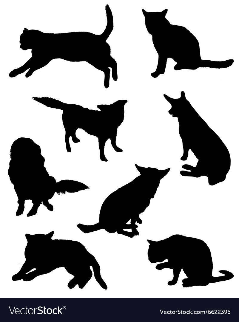 Collection of silhouettes of a cat and dog