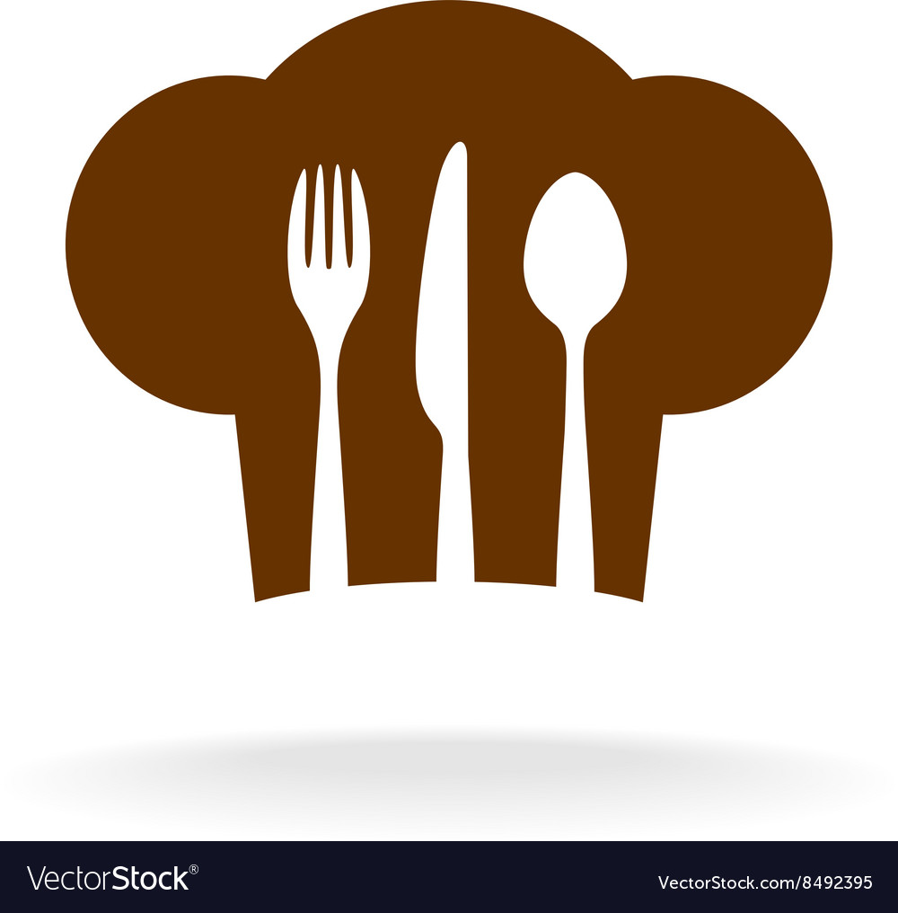 Cooking hat silhouette with cutlery inside title