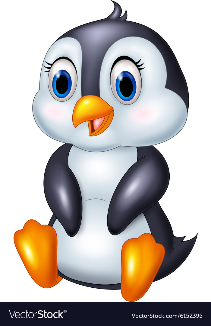 Cute cartoon animal penguin sitting isolated on wh