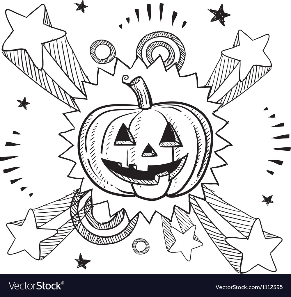 Doodle pop jack o lantern pumpkin vector image