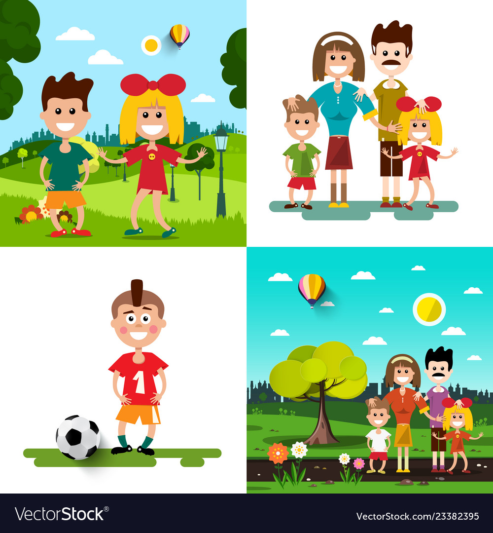 Family with kids set