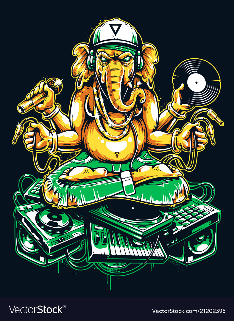 Ganesha dj sitting on electronic musical stuff