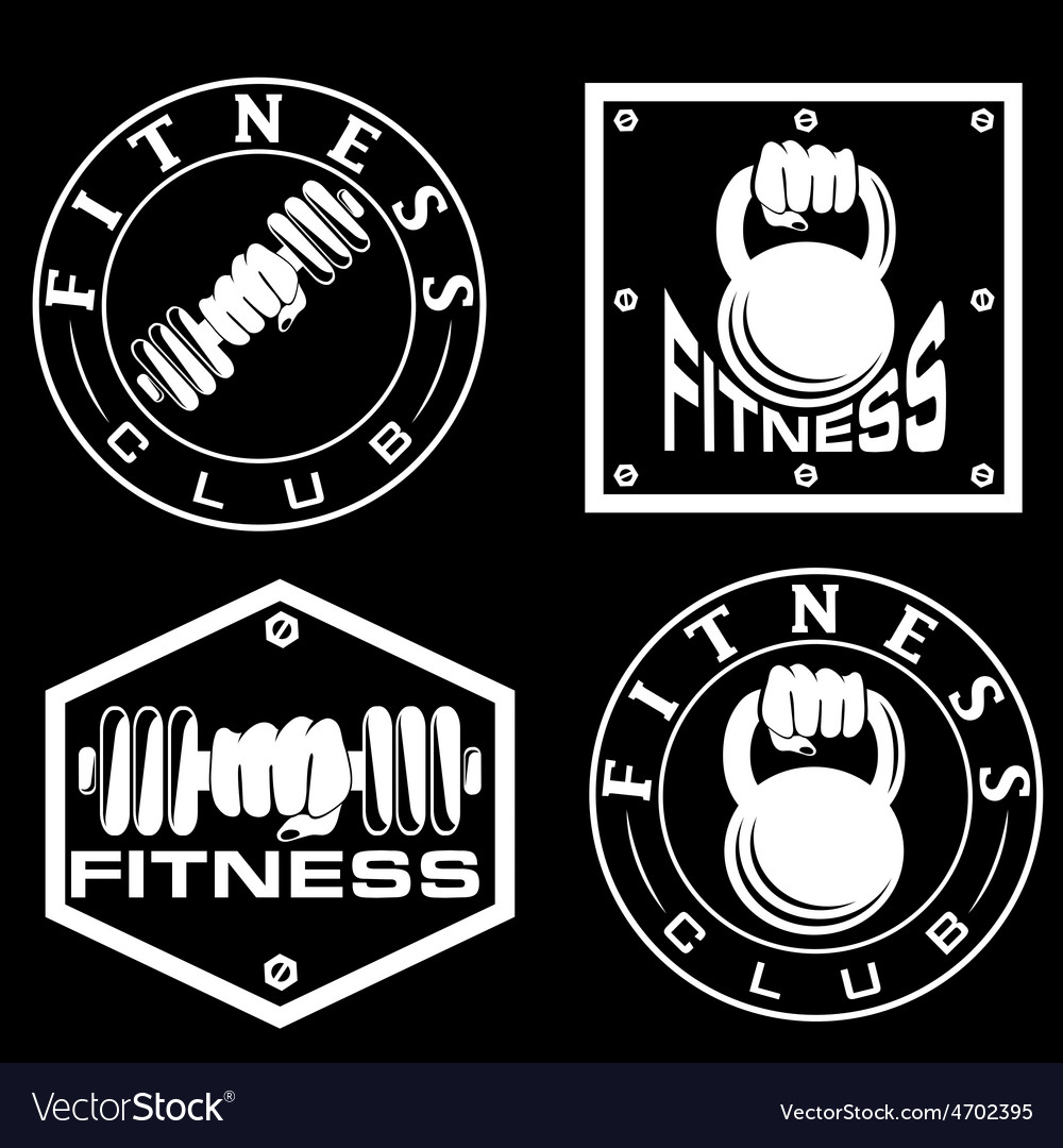 Hand holding barbell and kettlebell in emblems of
