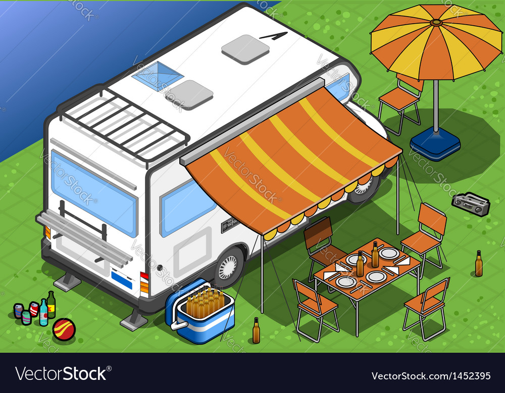 Isometric camper in two position